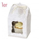 5 Stück Kraftpapier für 12 Cupcakes Mini-Cupcake-Boxen mit Sichtfenster Weiß/Rosa rose 12 Mulden