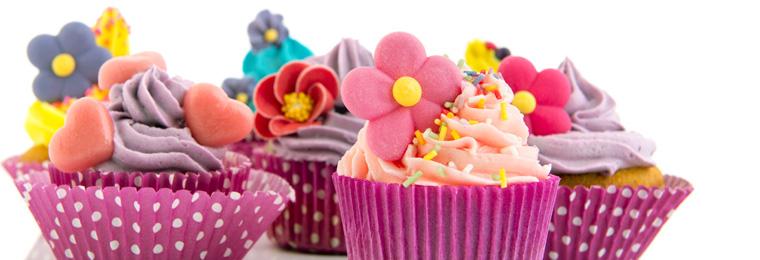 Beispiel dekorierter Muffins aus der Muffinform mit Antihaftbeschichtung