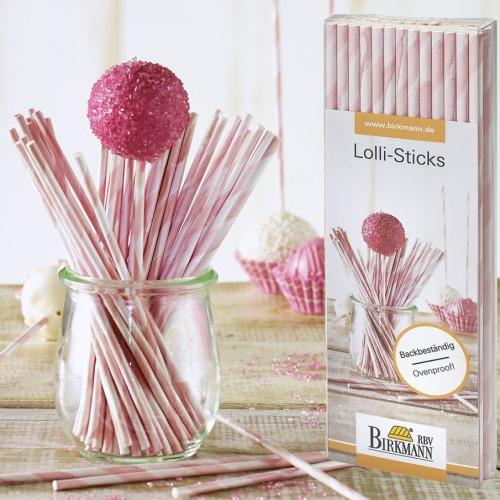 48 cake pops stiele 15 cm rosa streifen meincupcake shop. Black Bedroom Furniture Sets. Home Design Ideas