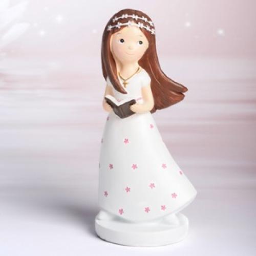 Tortendeko Figur für Kommunion Mädchen mit Bibel  MEINCUPCAKE Shop