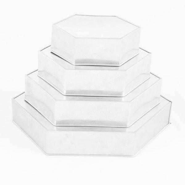 euro tins backformen set hexagon 4er durchmesser ca 15 30 cm meincupcake shop. Black Bedroom Furniture Sets. Home Design Ideas