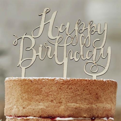 Tortendeko Happy Birthday Aus Holz 125 X 14 Cm