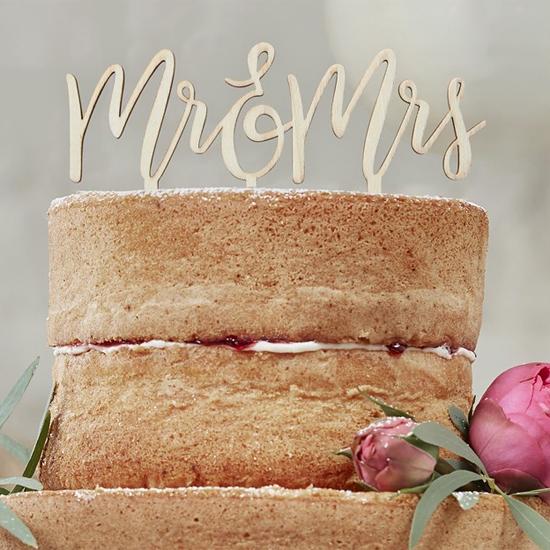 tortendeko mr mrs aus holz cake topper 16 x 14 cm meincupcake shop. Black Bedroom Furniture Sets. Home Design Ideas