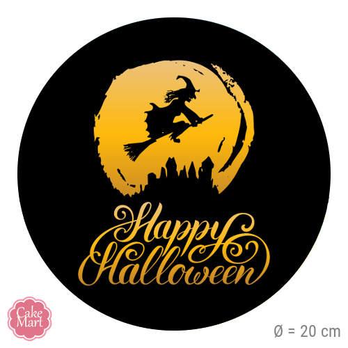 Tortenaufleger Happy Halloween Hexe Rund 20 Cm Meincupcake Shop