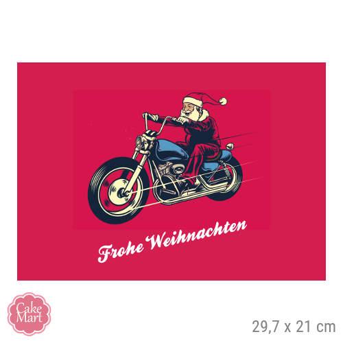 Frohe Weihnachten Motorrad.Tortenaufleger Weihnachtsmann Auf Motorrad Rechteckig 29