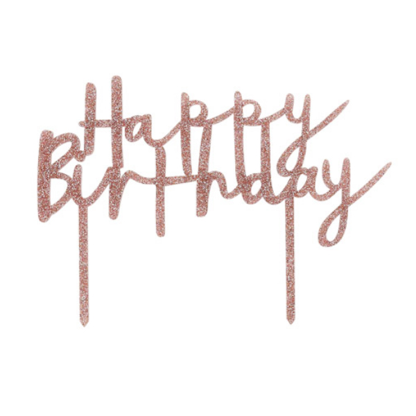 Tortentopper Happy Birthday Rosegold Meincupcake Shop
