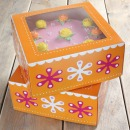 Funcakes Tortenkarton mit Fenster, orange, 21 x 21 x 9 cm, 2er Set