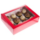 Cupcake Box f�r 12 Cupcakes, Christmas Red