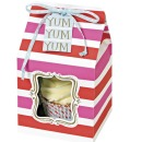 MeriMeri 4 Single Cupcake-Boxen, pink/rot, gestreift