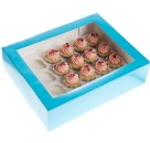 Cupcake Box f�r 24 Mini-Cupcakes, Aquablue, blau
