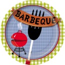 8 Partyteller aus Papier 'Barbeque', 23 cm