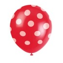 6 Party Luftballons rot/wei�, Punkte, 30 cm