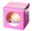 Cupcake Box 'single' mit Fenster f�r 1 Cupcake, fuchsia pink