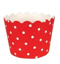 Muffinf�rmchen, rot, wei�, punkte, f�r Cupcakes, 12 Stk.